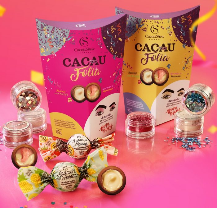 Kit Cacau Folia traz Glitter, iluminador, lantejoula e chocolates